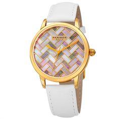 Women'S Akribos Xxiv Ak906Wtg Multi Colored Mosaic Dial Genuine Leather Watch