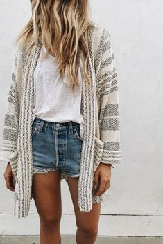 Gray and cream striped cardigan over white tee and denim shorts.