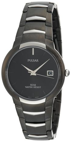 Pulsar Men's PXH627 Dress Black Ion Finish Watch. Quality Japanese-quartz movement. Date window at three o'clock. Black ion plated finish. Hardlex crystal. Water resistant to 165 feet (50 M): suitable for swimming and showering.