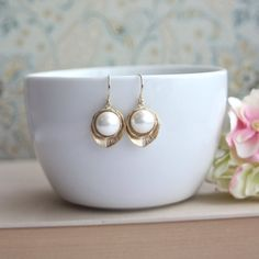 Gold Pearl Lotus Earrings, Wedding Earrings, Gold Lotus Flower Earrings, Large White SHELL Earring, Bridesmaid Gifts, Bridal Wedding Jewelry