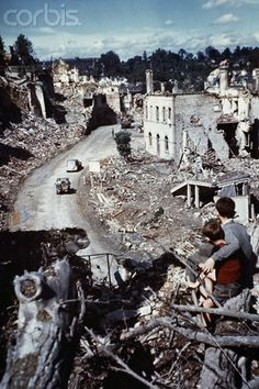Village of Saint-Lo in ruins after the World War II invasion of Normandy.