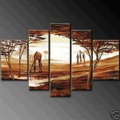 5 Pics Large Modern Abstract 100% Hand Painted Oil Painting on Canvas Wall Art Deco Home Decoration African Grassland (Unstretch No Frame) by galleryworldwide, http://www.amazon.com/dp/B008Z9JWFW/ref=cm_sw_r_pi_dp_dHbUrb0TK9F3C
