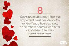 «Dans un couple, peut-être que l'important n'est pas de vouloir rendre l'autre heureux, c'est de se rendre heureux et d'offrir ce bonheur à l'autre.» L'auteur Jacques Salomé #StValentin #amour #couple