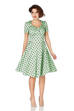 Voodoo Vixen Hanna Dress | Green Retro 50's Polka Dot Dress | Free UK Delivery