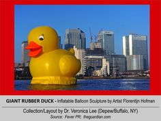 GIANT RUBBER DUCK (50' Tall) [2012].12/11 @ ENGLAND – London: River Thames --- An 8-People team spent more than 800 hours cutting and welding together parts for the giant duck to ensure it was airtight and didn't sink. // inflatable balloon Sculpture floating around the world to spread Peace/Goodwill
