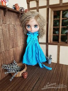 Vintage Touch - hand-dyed dress for Blythe adorned with ribbon