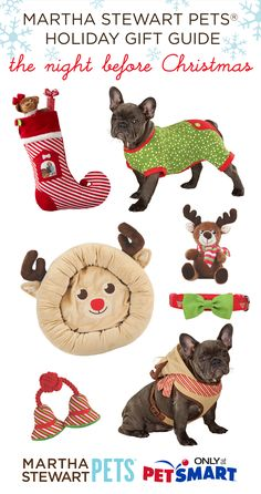 #TheNightBeforeChristmas necessities: stocking, PJ's, cozy bed, and reindeer-themed toys! Shop #marthastewartpets @petsmartcorp