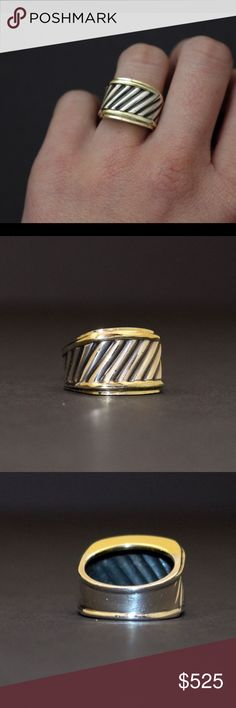 Authentic David Yurman Vintage Cigar Band Vintage cigar band. Sterling silver & 14K gold cable ring. Size 6. The inside is a hollow dome so it isn't too snug on your finger. This ring is in great condition - only shows signs of light wear. David Yurman Jewelry Rings