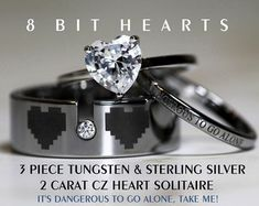 Legend Of Zelda Inspired 8 Bit Hearts Tungsten and 925 Sterling Silver 2 Carat TW Halo Wedding Ring, 8mm Men's ring All Custom Engraved by C9TTUNGSTEN