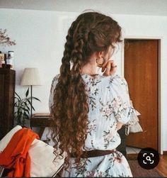 Hair goalss Side Plait, Side French Braids, Half Braid, Braided Half Up, Scarf Hairstyles, Hairstyles Haircuts, Long Curly Hair, Curly Hair Styles, Hair Plopping