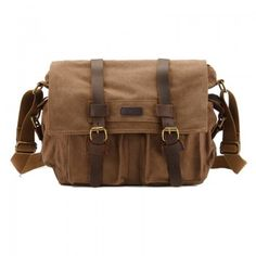Kattee Leisure Vintage Military Messenger Canvas School Bag Travel Hiking with Leather Strap: Black/Coffee/Khaki/Army Green #Messenger #men #canvas #bag