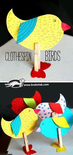 CLOTHESPIN BIRDS #MakingClothesFromOldClothes Spring Activities, Craft Activities, Preschool Crafts, Easter Crafts, Children Activities, Animal Crafts For Kids, Diy For Kids, Diy Ostern, Crafty Kids