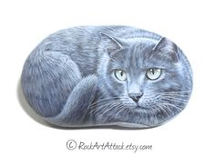 Hand painted rock beautiful grey cat by Lefteris Kanetis! Find more on https://gr.pinterest.com/LefterisKanetis/