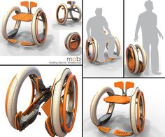 Mobi electric folding wheelchair by designer Jack Martinich is a compact electric wheelchair concept that can fold into itself within the diameter of its wheels. It's made of lightweight materials and functions as a manual wheelchair, yet at the base of the wheels there is a battery-powered mechanism to help move the wheels forward or backward. It has Gyroscope technology the Segway, and keeps the two-wheeled chair balanced. #NMEDA
