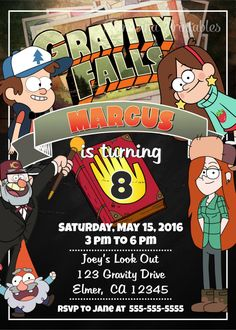 Elegant Invitation Gravity Falls Invitation Gravity Falls Birthday Invitation Gravity Falls Invitation Gravity Falls Get together Provides Gravity Falls Printables Birthday Invites Gravity Falls Fall Birthday Decorations, Fall Birthday Parties, Gravity Falls, Fall Birthday Invitations, Happy Birthday Banners, Dipper E Mabel, Emoji Coloring Pages, Fiesta Party, The Incredibles