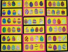 You need: cardboard egg shape 10 cm high pencil white drawing sheet several colour materials, like markers, colour pencils, crayons, ch. Easter Art, Easter Crafts, Easter Eggs, Artists For Kids, Art For Kids, Crafts For Kids, Spring Art Projects, Black Construction Paper, Drawing Sheet