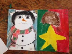 Christmas Self Portraits so fun for the day before break chalk pastels