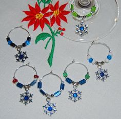 Silver and Blue Snowflake Wine Charms NEW for the Holidays!  Set of 6 Silver and Blue Beautifully beaded Snowflake Wine Charms! by JennysPrintsCharming on Etsy
