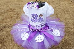 3c52c99bac595 Sofia the First Tutu Disney Princess Purple Lavender Embroidered Tulle Bow  Personalized Name Pearl Accents Birthday Party Tutu Newborn Toddler Girls  Dress