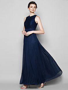 Lanting+Bride®+Floor-length+Chiffon+/+Lace+Bridesmaid+Dress+-+Sheath+/+Column+Jewel+Plus+Size+/+Petite+with+Lace+–+GBP+£+209.10