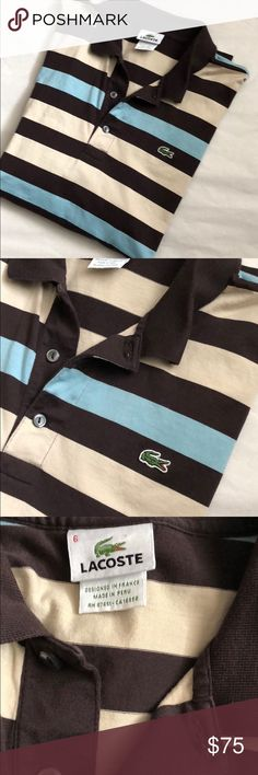 Lacoste Men's Polo! Lacoste Men's Polo! Excellent like new condition! Brown, blue and tan color! Size US Large! Authentic with the Devanlay Tag! 27 inches long. Chest across the front 23 inches. Lacoste Shirts Polos