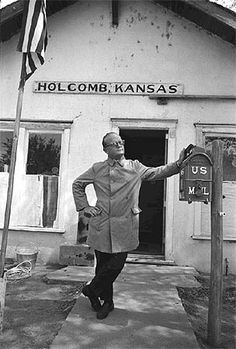 """Here is Truman Capote in front of the post office of my hometown, Holcomb, Kansas. Later Capote said: """"If I had realized then what the future held, I never would have stopped in [Holcomb] Kansas. Non Fiction Novels, Famous Murders, State Of Kansas, In Cold Blood, American Literature, Great Friends, Nonfiction, Illustration, Black And White"""