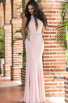 Blush Fitted Jersey Prom Dress 23046