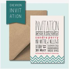 25 x Custom Chevron Wedding Invitations with Envelopes - Choice of Ink and Envelope Colour. £75.00, via Etsy.