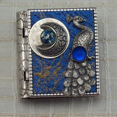 Peacock and Moonminiature book pin with by StorytellerJewelry,