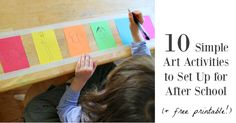 A free printable of 10 simple art activities to set up for after school (or whenever). Sort of a cheat sheet to refer to for quick inspiration.