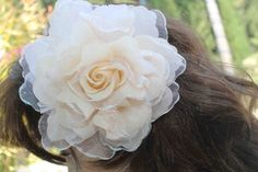 Very  cute  ivory  color   flower with back pin by lpaviaco, $3.45