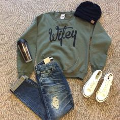 We love this perfect cold weekend outfit! Come check out our selection of cold weather items! Open until 5 #bedazzledokc Wifey sweatshirt $24.99 Big star jeans $136.00 Shoes $18.99 CC beanie $12.99 Coffee mug $12.99