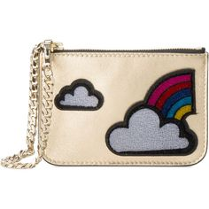 Les Petits Joueurs cloud and rainbow applique coin purse ($93) ❤ liked on Polyvore featuring bags, wallets, borse, metallic, change purse, applique bag, coin pouch wallet, coin purses and metallic bag