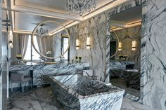 Hotel de Crillon Paris. Suite Karl Lagerfeld, historical Arabescato marble bathroom. Realisation: Les Marbreries de la Seine. Design Karl Lagerfeld for Cina.