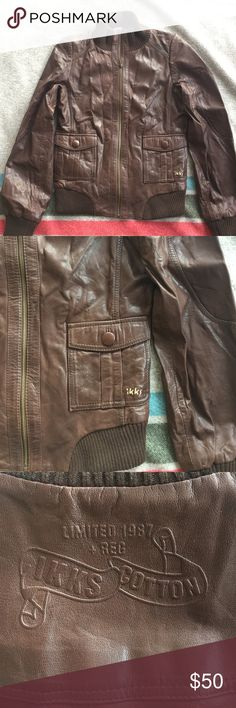 🌸 SPRING CLEAN OUT SALE 🌸 Ikks Leather Bomber Ikks chocolate brown leather jacket, leather is in perfect condition! Tagged as a Medium, I typically wear a small and found it to fit great, sits at a moto-style length (for me, that was right between my waist and hips). Ikks Jackets & Coats