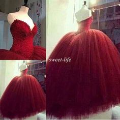 2015 Sweet 16 Party Quinceanera Dresses Corset Fluffy Tulle Sweep Train Beading Lace Cheap Custom Made Dark Red Ball Gown Wedding Dresses