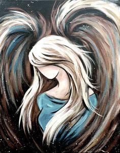 angel Angel Paintings, Angel Wings Painting, Angel Drawing, Angel Artwork, Acrylic Face Painting, Hope Painting, Painting & Drawing, Acrylic Paintings, Art Drawings