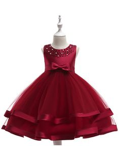 879643204793 In Stock:Ship in 48 Hours Burgundy Tulle Flower Girl Dress With Pearls.  Toddler ...
