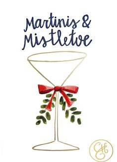Martinis & Mistletoe 8.5 x 11 in Print by EvelynHenson on Etsy, www.evelynhenson.com
