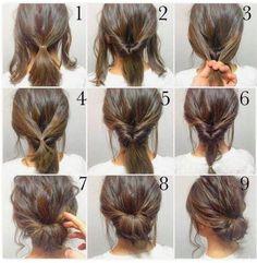 Peinado Updo, Hair Photo, Hair Hacks, Medium Hair Styles, Short Styles, Hair Styles Work, Shorter Hair Styles, Hair Styles No Heat, Hair Styles Casual