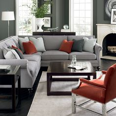 Pinterest @nadinevoikos | Bernhardt living room in grey, red, and silver. Brae…