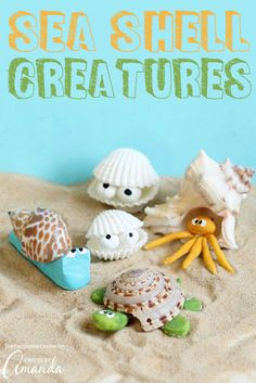 These sea shell creatures are the perfect beach craft to tackle after collecting shells from your latest beach vacation. Make your own unique creature! Seashell Crafts, Beach Crafts, Summer Crafts, Crafts To Do, Crafts For Kids, Seashell Projects, Seashell Ornaments, Craft Projects For Adults, Craft Activities For Kids
