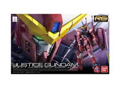 Model kit - Gunpla of Justice Gundam (ZGMF-X09A) from Mobile Suit Gundam SEED. 1/144 scale (Real-Grade) model that must assembled (includes all snap-in parts and stickers) made of PVC material by Bandai. Includes detailed assembly instructions.