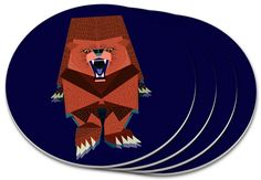 """Amazon.com: Custom & Cool {4"""" Inches} Set Pack Of 4 Round Circle """"Grip Texture"""" Drink Cup Coasters Made of Plastic w/ Cork Bottom w/ Scary Bear With Open Mouth In Wild Design [Colorful Purple, Brown & White]: Home & Kitchen"""