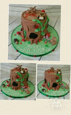 Woodland tree stump christening cake www.facebook.com/ditsyscakes