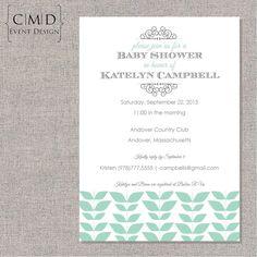 Tiffany and Gray Baby Shower Invitation- PRINTABLE DIGITAL FILE