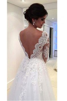 Sexy V-neck Long Sleeves V-back Tulle A-line Lace Wedding Dress - Shedressing.com