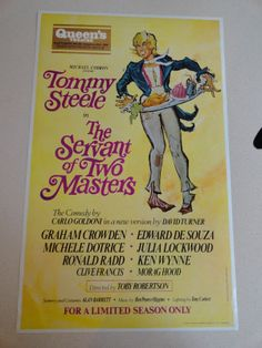 The Servant of Two Masters, The Queens Theatre, 1968 Starring Tommy Steele.