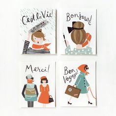 French Card 8 Pack by Anna Bond of Rifle Paper Co. love Rifle Paper Co! Arte Sketchbook, Rifle Paper Co, Oui Oui, Cute Cards, Paper Goods, Illustration Art, Map Illustrations, Creations, Doodles