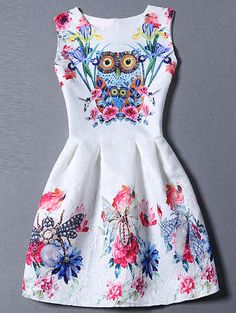 Multicolor Sleeveless Owl Print Flare Dress -SheIn(Sheinside) Mobile Site